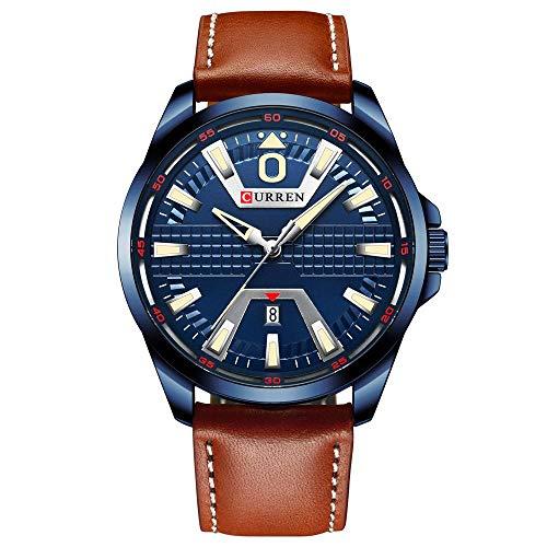 Armbanduhr,Wasserdichtes Quarz-Lederarmband Business-Kalender Uhr, Blaues Gehäuse Blau