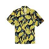 3D Camisa Hawaiana, Morbuy Hombre Casual Manga Corta Camisas Playa Verano 3D Estampada Funny Hawaii Shirt Playa Tops (3XL,Plátano Amarillo)