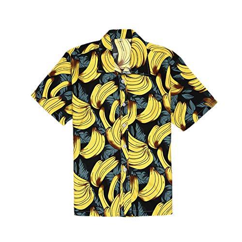 3D Hawaiihemd, Morbuy Herren Kurzarm Strand Palmen Meer Bierflaschen Party Blumen Verschiedene Designs (2XL,Gelbe Banane)