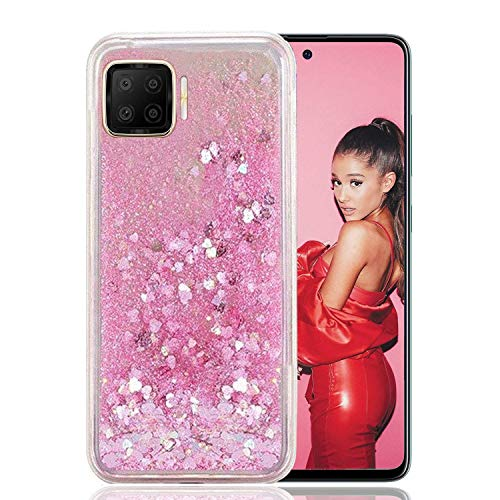 KC Liquid Unique Floating Hearts Glitter Sparkle Soft Transparent Silicon Back Cover for Oppo F17 (Pink)