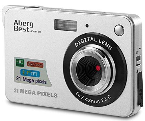 "AbergBest 21 Mega Pixels 2.7"" LCD Rechargeable HD Digital Camera Video Camera Digital Students Cameras,Indoor Outdoor for Adult/Seniors/Kid (Silver)"
