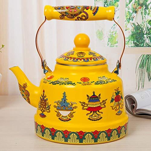LLine Retro Palace Ethnic Eight Treasures Boeddhistisch emaille ketel koffie melk theepot gasketel inductiekookplaat universele pot, 2,5L