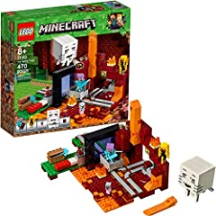 Build a LEGO Minecraft Nether Portal setting with flames, mushrooms and lava-flow function, plus a minecart and a curved rail track system! This LEGO Minecraft set includes a Steve Minecraft minifigure, plus blaze, small magma cube and baby zombie pi...