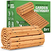 Zyppio Roll-Out Garden Pathway, 8' Long, Straight, Weather-Resistant Walkway for Outdoor Patios, Gardens, Beach Boardwalks, and Wedding Party Events, Natural Cedar Hardwood