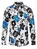 THWEI Mens Long Sleeve Floral Printed Shirts Button Down Aloha Hawaiian Shirts Blue Flower L