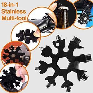 Aitsite Multi herramienta copo de nieve Tarjeta de la herramienta del copo de nieve Destornillador multi-herramienta de acero Llavero Abrebotellas Tarjeta (Negro)