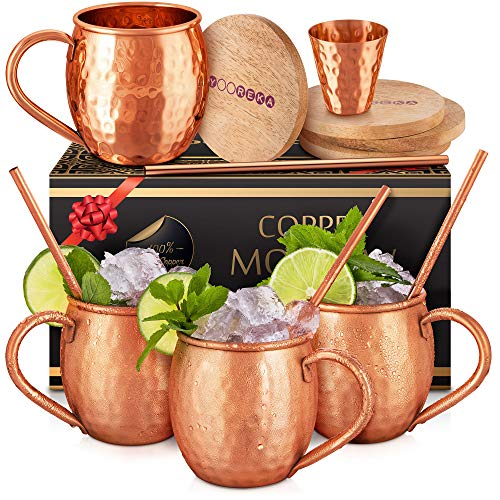 Moscow Mule Copper Mugs Set : 4 16 oz. Solid Genuine Copper Mugs Handmade in India,BONUS: Highest Quality, 4 Straws, 4 Wood Coasters, Shot Glass : Comes in Elegant Gift Box,by Yooreka