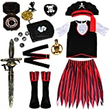 vamei 11pcs Disfraz Pirata para niño con Pirata Accesorios Deluxe Pirate Eyes Parches Espada Brújula Pendiente Monedero Monedas Medallón para Disfraz de Halloween Niños (L)