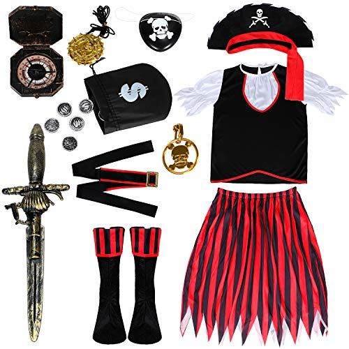 Joinfun 11pcs Pitatin Mädchen Pirat Kinder Säbel Pirat Kostüm Augenklappe Cosplay Halloween Piratin Hut Kompass Kleid Outfits Party Verkleidung(L)