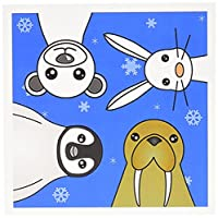 Janna Salak Designs Winter Wonderland – かわいい赤ちゃんPolar AnimalsブルーSnowflakes – グリーティングカード Set of 6 Greeting Cards