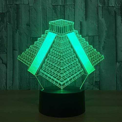 Qaq Starry Sky3D Light LED Night Light piramide uit Mexico licht 7 kleuren ruilen lamp usb nachtkastje nachtkastje slaapkamer geschenk