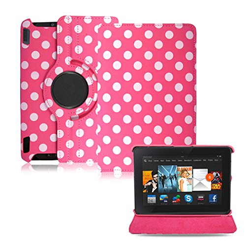 Amazon Fire HDX 7 Case, (2013 version) - 360 Swivel Rotating Leather Flip Folio Tablet Case Cover, (Polka Dot Pink)
