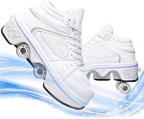 SHHAN Zapatos Luminosos Deformación Zapatos con Ruedas para Hombres/Mujeres Multifuncionales Calzado Deportivo Ruedas Tira 4 Modos Y 7 Colores Unisexo,White led,41