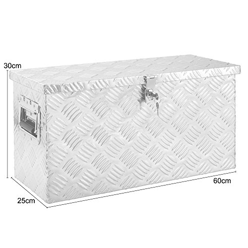 Arebos Aluminiumbox Werkzeugbox Deichselbox / 40 Liter / 60 x 25 x 30 cm/Inkl. Moosgummidichtung/Silber - 5