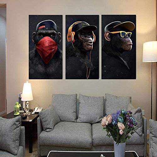 Refosian Decoración para el hogar Gafas Auriculares Música Mono Pintura al óleo sobre lienzo Carteles Impresiones Arte de la pared Imágenes para la sala de estar 60x105cmx3Pcs Sin marco