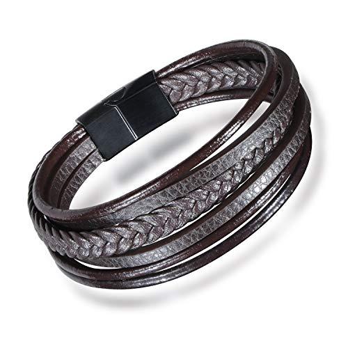 MicVivien   Premium Echtlederarmband für Männer in schwarz & braun   Verschiedene Längen   Magnetverschluss aus Edelstahl   Vatertagsgeschenk für Herren