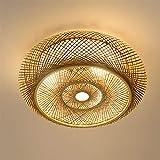 Lámpara de techo de bambú tejida a mano de ratán natural, E27, retro, lámpara de ratán, iluminación de madera, estilo rústico, lámpara de techo de bambú natural, A, 60 cm