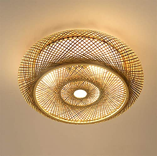 Deckenleuchte Bambus Handgewebte Natürlicher Rattan Deckenlamp, E27 Retro Rattan Lampe Licht Holz Beleuchtung ,deckenlampe landhausstil,Natürlichen Bambus Rattan Deckenleuchte,A,40CM