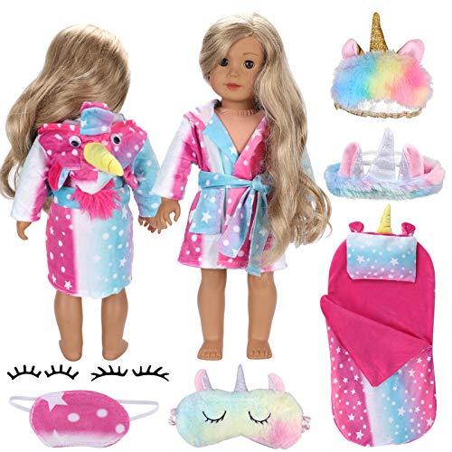 Tacobear 9PCS Puppenkleidung Puppen Zubehör 40-46cm Babypuppen Einhorn Nachthemd Schlafsack Kissen Augenmaske Stirnband Falsche Wimpern Kleidung Zubehör Einhorn Geschenk