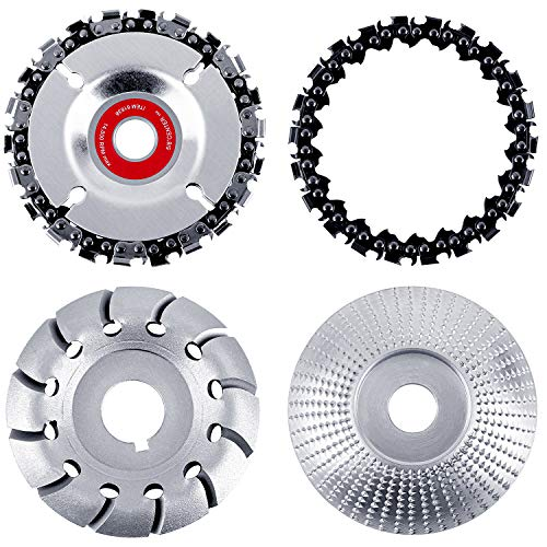 Aodaer 4 Pieces Angle Grinder Disc Grinder Chain Disc Wood Carving Disc Tungsten Grinder Shaping Disc Wood Grinding Wheel 12 Teeth Wood Polishing Shaping Disc Wood Grinding Wheel for Wood Cutting