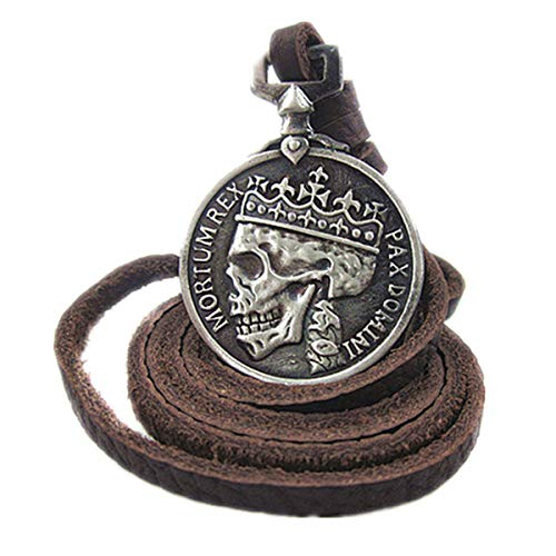 It is with full-grain leather, high grade genuine leather made it soft and comfortable to wear with. Length of the necklace is adjustable from 45cm to 85cm, around 17.7inch to 33.5inch, it can work for most occasions. Retro design skull pendant makes...