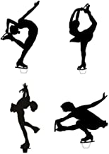 Novelty Ice Skater Silhouette Mix 12 Edible Stand up wafer paper cake toppers (5 - 10 BUSINESS DAYS DELIVERY FROM UK)