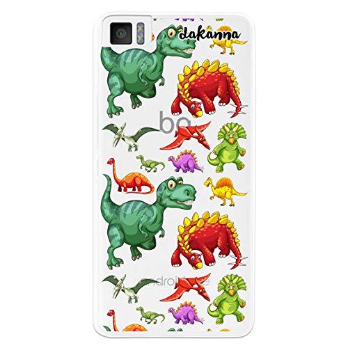 dakanna Funda Compatible con [ Bq Aquaris M4.5 - A4.5 ] de Silicona Flexible, Dibujo Diseño [ Patrón de Dinosaurio ], Color [Fondo Transparente] Carcasa Case Cover de Gel TPU para Smartphone