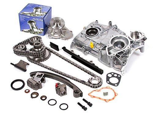 Evergreen TK3003WOPA Fits Nissan KA24DE DOHC 16V Timing Chain Kit w/Oil Pump AISIN Water Pump
