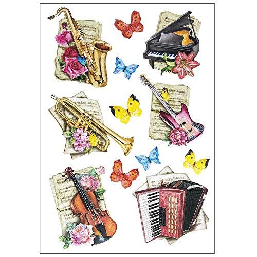 Stickerbogen 3-D Relief-Sticker | Hochwertig geprägt mit 3-D-Effekt | Din A4 Bogen mit verschiedenen Motiven (Musik-Instrumente)