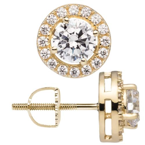 "14K Solid Yellow Gold Stud Earrings | Round""Halo"" Cubic Zirconia 