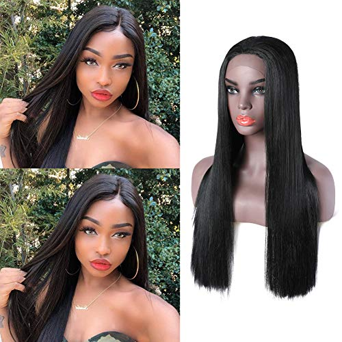 YIROO Hair Lace Front Synthetic Wigs Long Straight Heat Resistant Hair Pre Plucked Wig with Baby Hair for Women (Black 26inch)