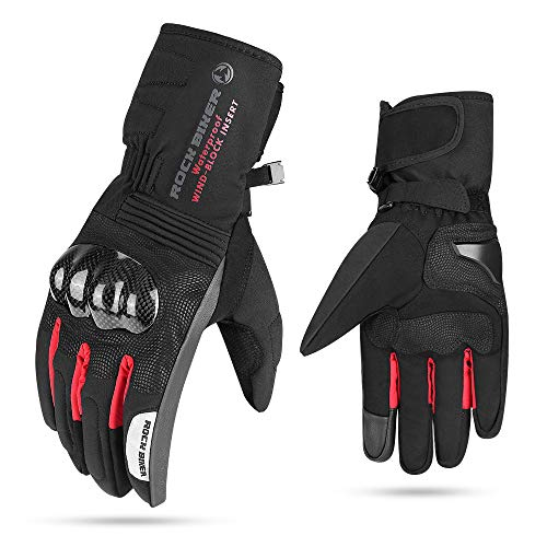Men Winter Motorcycle Gloves Women, Warm Touch Screen Gloves Windproof Waterproof Gauntlet Carbon Fiber Riding Hard Knuckle ATV UTV Scooter Snowmobile Skiing Cycling Outdoor (Red, XL)