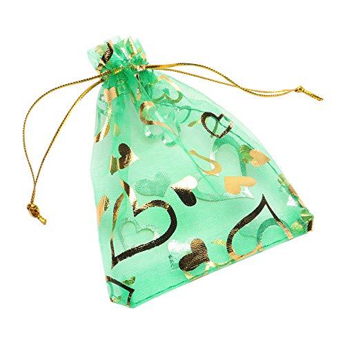 YFZYT 100 Stück Organza Taschen Liebes-Herz Organza Tunnelzug Geschenkbeutel Hochzeit Party Mitbringsel Taschen SchmuckBeutel Süßigkeiten Beutel, Geschenktüte, Schöne Säckchen - 9x12cm, Gras Grün