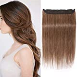 10'/25CM Extensions A clip Cheveux Naturel Une Bande A 5 Clips Rajout Cheveux Naturel Invisible 100% One Piece Clip In Hair Extension Human Hair,#6 Châtain Clair