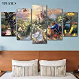 5 Piece Wall Art Painting Modern Canvas Wall Art Home Decor for Living Room Hd Printed Poster 5 Pieces Cartoon Castle Beauty and The Beast Painting-znb30
