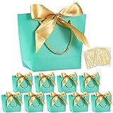 10 pezzi sacchetti regalo con fiocco mezoom borsa regalo di carta con maniglie shred carta regalo imballaggio tagliuzzato per compleanno wedding present wrap bridesmaid celebration(acquamarina)