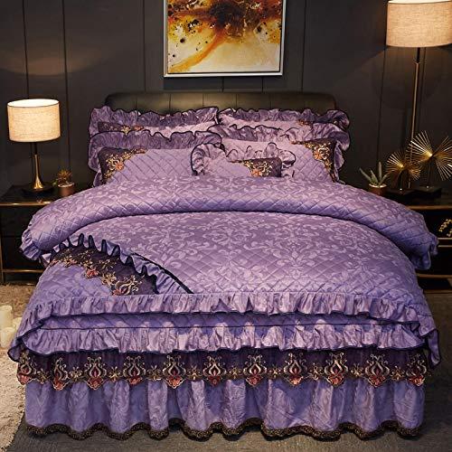 Yuan Ou Teddy Bear Ropa de cama de cristal terciopelo algodón falda de cama de cuatro piezas juego franela de invierno colcha engrosada funda de edredón 1,8 m terciopelo coral en la cama Queen Gray