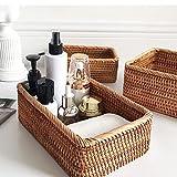 YSJJBTS Cesta Tejida Cesta de Almacenamiento Fruta Té Snack Pan Basket Cosmético Rectangular Caja de Almacenamiento Decoración del hogar (Color : 30cm x 20cm x 9cm)