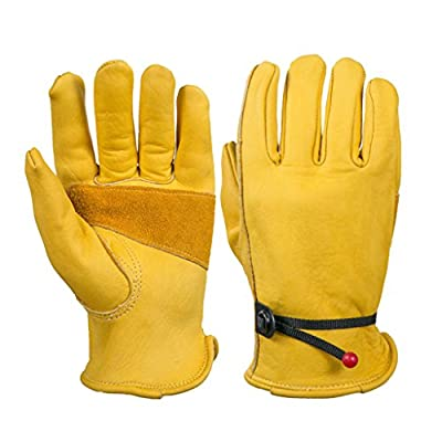 Prettyia S M L XL Working Gloves Safety Work Heavy Duty Leather Carpenter Builder Gloves