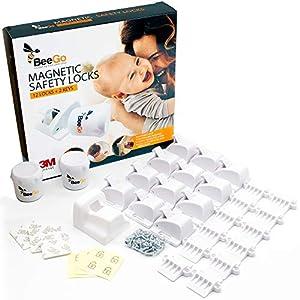 BeeGo Cerraduras de armario magnéticas a prueba de seguridad para niños y bebés, 12 cerraduras y 2 llaves, instalación fácil en segundos, video de instrucciones extra, sin tornillos ni taladros