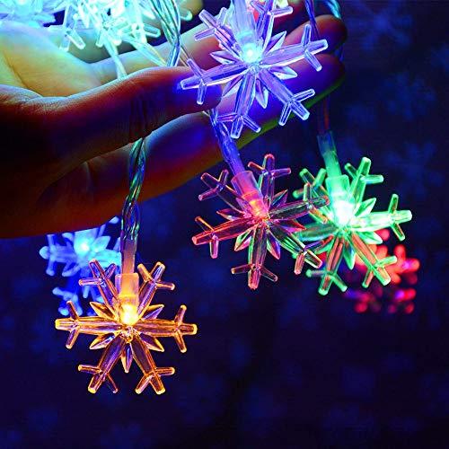 FOWYJ LED Weihnachtsdekoration Lichterketten, Schneeflocke Streicher Feuer-Baum Silber Blume Dekorative Leuchten Für Schlafzimmer Korridor Patio-Garten-Yard,C