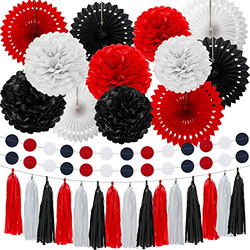 WILLBOND 29 Pieces 2020 Graduation Mouse Paper Decoration Fan Pom Pom Honeycomb Flower Tissue Tassel Garland Theme Party Suppiles for Birthday Baby Shower Wedding(White, Red, Black)