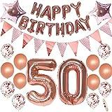 Decoración de 50 cumpleaños de mujer en oro rosa para 50 cumpleaños, fiesta de cumpleaños, decoración para mujeres, 50 años, 50 cumpleaños, regalo para mujer, globo gigante con número 50 globos