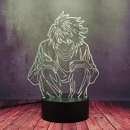 3D Manga Death Note L·Lawliet Figura LED Night Light Lava, para Anime Kid Baby Room Store Decoración Lámpara de mesa, Cool Creative Comic