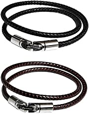 ファイテン(phiten) ブレスレット RAKUWA ブレスX100 レザータッチモデル ブラック・ブラウン