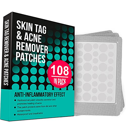 Skin Tag Remover and Acne Pimple Healing Patch, Absorbing Cover, Invisible, Blemish Spot, Hydrocolloid, Skin Treatment, Facial Stickers, Two Sizes, Improved Formula (108 Patches)