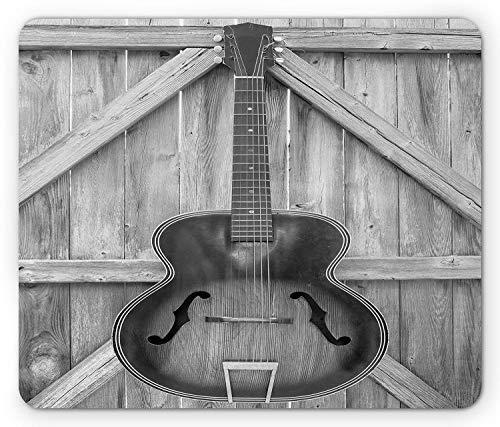 Spiel Maus Pad,Mausmatte,Gaming Mauspad,Mausunterlage,Western,Vintage Akustikinstrument Gitarre Hängt An Alten Holztür Zäune Country Ranch,Grau Schwarz Matte Mäuse Mousepad Für Office Home Laptop Co