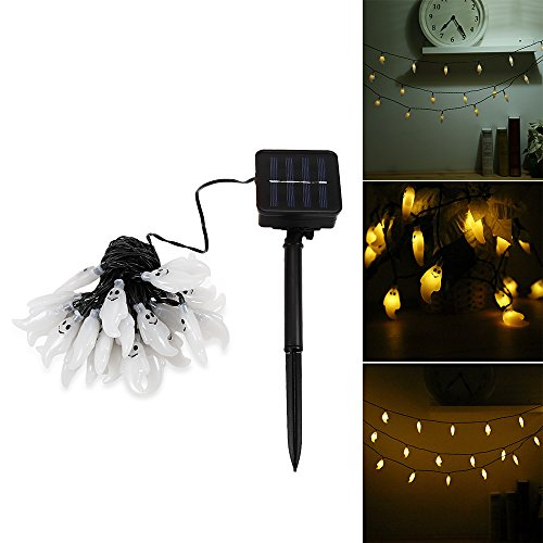 Rosyxandy Solar Lichterkette, 30 LED Wasserdicht IP65 Cute Ghost LED Urlaub Lichter für Outdoor, Cosplay, Halloween-Partys Home Dekorationen, Steady/blinkende Lichter