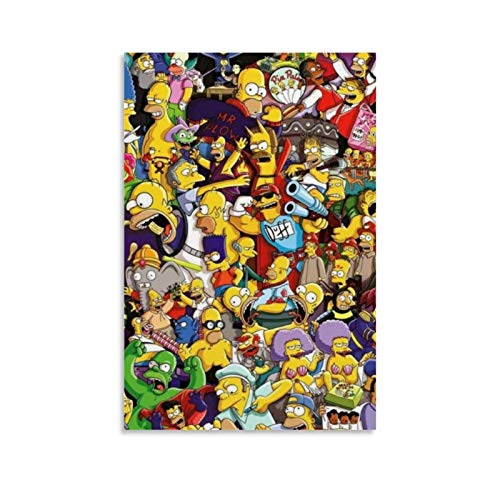 FUSHANG Animtion Color Painting Bart Simpson, Homer Jay, Character Set Art Poster Canvas Art Poster and Wall Art Picture Print Modern Family Bedroom Decor Posters 08x12inch(20x30cm)