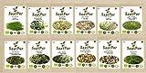SaatPur Bio-Keimsprossen-Set (12 Sorten) Weizen, Sonnenblumen, Zwiebeln, Linsen, Kresse, Alfalfa,...
